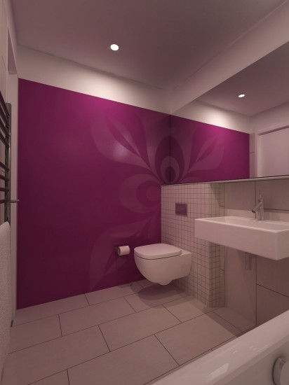 bathroom with wallpainting